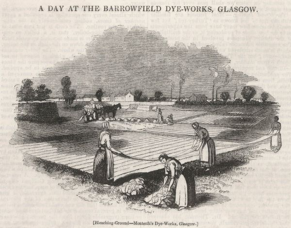 Women working outside in the bleaching ground of the Barrowfield (Montheith's) dye- works, Glasgow