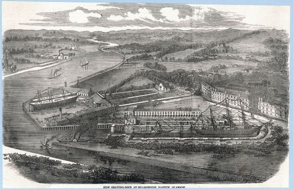 The new (in 1858) graving dock at Meadowside, Glasgow. The open country beyond is, alas, only a memory