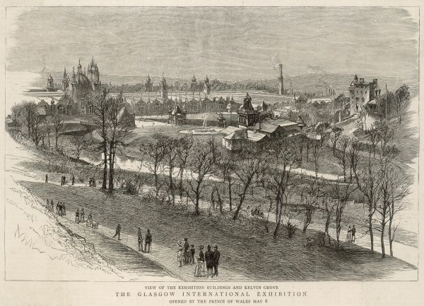 View of the Exhibition buildings and Kelvin Grove of the Glasgow International Exhibition, opened by the Prince of Wales on 8 May 1888
