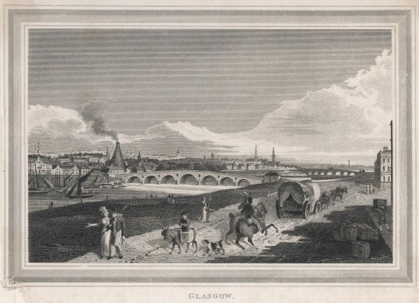 General view of the city, with a wagon approaching on a rough-surfaced road, a carrier and his donkey, factory smoke polluting the air