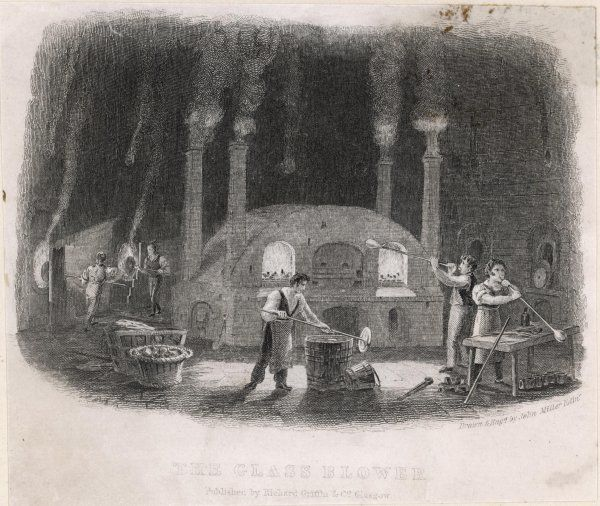Glass-blowers at work around the furnace in an English glassworks