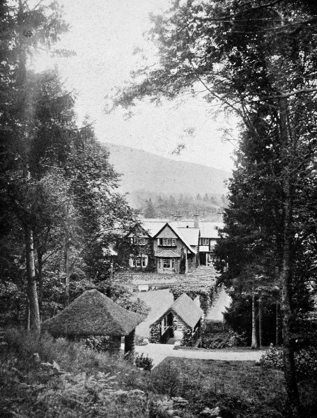 Photograph showing Glengonnar House, Lanarkshire, Scotland in October 1906. At that time, this was the home of Lord and Lady Colebrooke