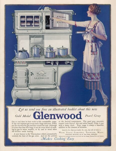 Gas or coal does its best work in this remarkable Glenwood range - five burners for gas and four covers for coal... the Thermolator automatically controls the oven heat
