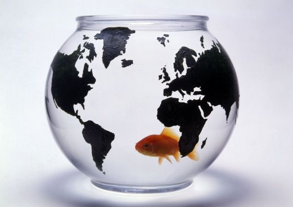 A well-travelled goldfish in its global bowl. Date: 1980