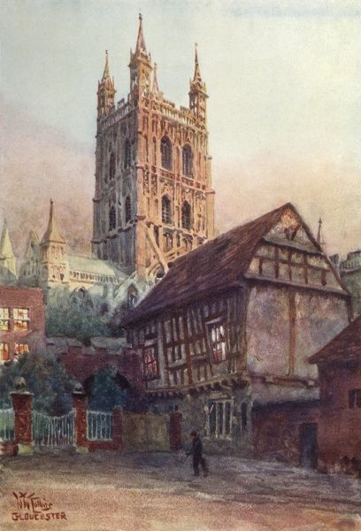 Gloucester Cathedral: viewed from the town centre Date: 1905