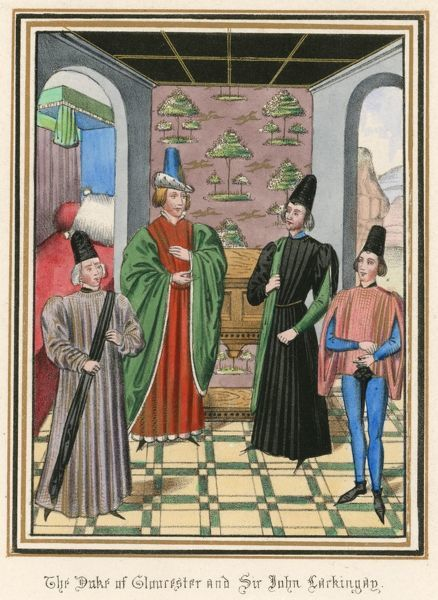 The Duke of Gloucester meets with Sir John Lackingay in the presence of other courtiers