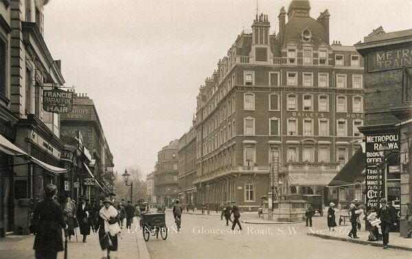 Gloucester Road, London, with Gloucester Road tube Station (right) and Bailey's Hotel (now the home to an excellent Indian Restaurant!)