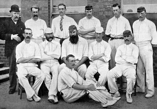 Photograph of Gloucestershire County Cricket team for the 1892 season. Back row, left to right: J.Smith (scorer), E. Sainsbury, S.A.P. Kitcat, Roberts, Murch, Painter. Middle row, left to right: Captain A.H. Luard, E.M. Grace, Dr. W.G. Grace (captain)