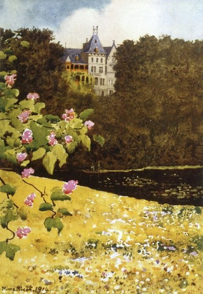 Schloss zu Gmunden: royal home on the Travensee, viewed from the Chestnut Avenue Date: 1916
