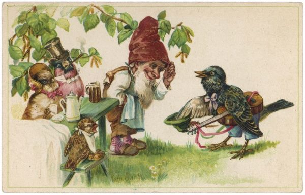 Birds in an outdoor cafe are served by a gnome
