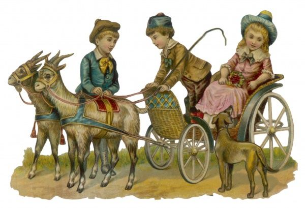 Three children and a dog with their goat-cart