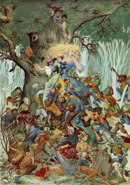 Illustration by Pauline Baynes depicting a scene from Goblin Market, the poem by Christina Rossetti, where a terrifying crowd of assorted goblins plying a girl with ripe fruit in return for a lock of her golden hair