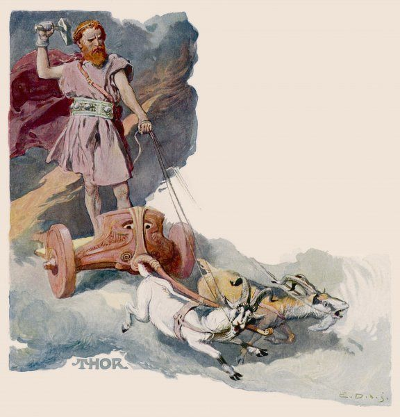God of the sky and of thunder, red of beard and fiery of temper, particularly on Thursdays. He will die killing the World Serpent at the battle of Ragnarok. Riding his chariot pulled by the goats Tanngrisni