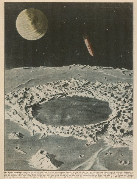 American engineer GODDARD proposes to reach the Moon by rocket ship : illustration shows the vessel approaching the crater of Plato