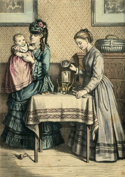 A young mother and her baby visit the baby's godmother, who puts the pot on for a nice cup of tea Date: circa 1870