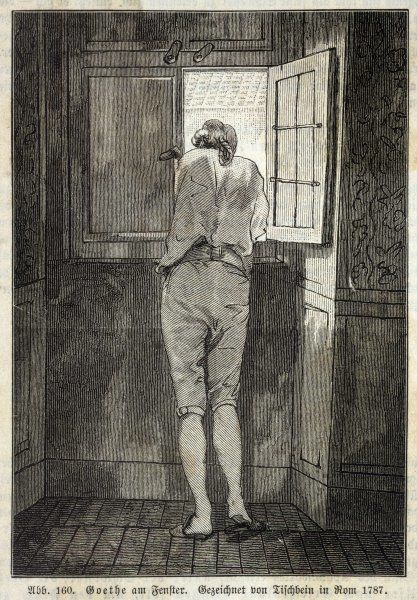 JOHANN WOLFGANG von GOETHE German writer in Rome in 1787, looking out of the window in a relaxed mood