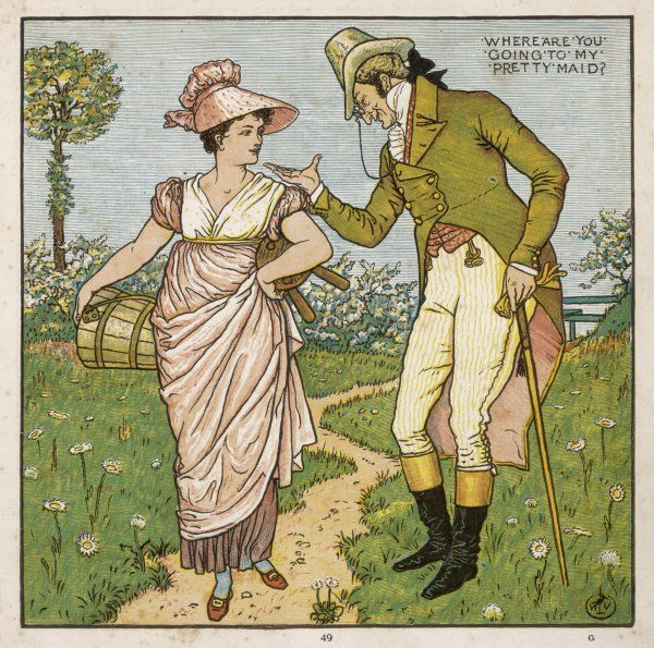 'Where are you going to, my pretty maid ? - she is accosted by a very dubious looking gent