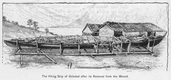 Excavated in 1880, a perfectly preserved Viking ship shown after its removal from a long barrow at Gokstad, Norway