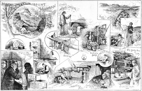 Series of illustrations showing a number of scenes concerned with the gold mines of Mount Morgan, in Merionethshire, North Wales, 1888