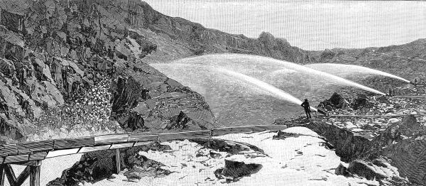 Engraving showing a gold mining operation using water cannon to destroy a mountain side, Nevada County, 1888