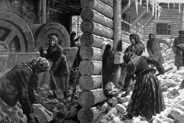 Illustration from sketches by Special Artist Julius Price in Siberia showing Russian women working on the Siberian gold mines, shovelling ore like coal. Women are paid badly, worse than men. The ore is crushed by Chilean mills
