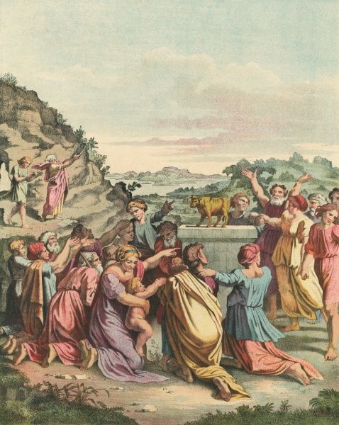 When he comes back from talking to God, he finds that the Israelites, encouraged by his brother Aaron, are worshipping a golden calf : he is not at all pleased Date