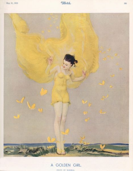 A colour illustration of a young girl holding a piece of golden fabric, mimicking the surrounding butterflies