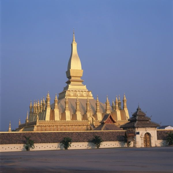 View of the Golden Stupa of That Luang Wat Buddhist Temple at Vientiane, Laos