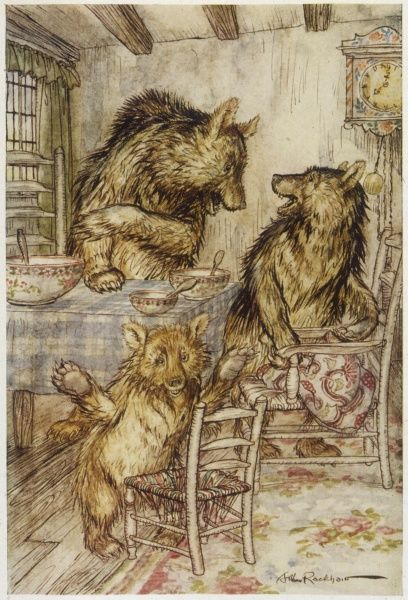 The three bears discover that their porridge has been eaten. Traditional tale originally worked on by Robert Southey
