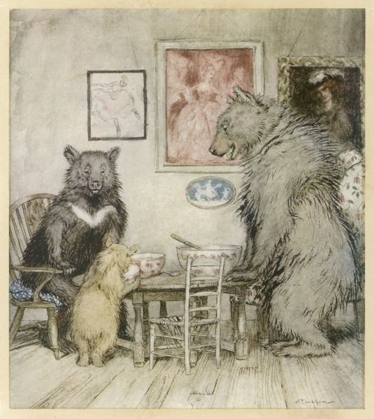 The three bears at the table where they discover their porridge has been eaten. Traditional tale originally worked on by Robert Southey