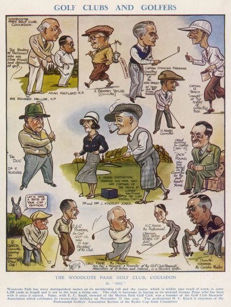 A series of caricatures of the members of Woodcote Park golf club in Coulsdon, Surrey