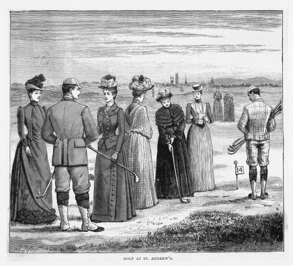 Beautifully attired ladies enjoy a game at St Andrews, Scotland; a lady putts out on the fourteenth hole (note the double green that is shared with the fourth hole)