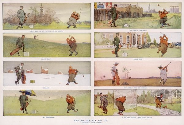 A sequential cartoon showing a patient caddy accompanyinig a tenacious golfer as he tackles a wide variety of clubs and greens