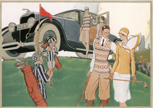 The Motor car as an adjunct to summer holiday sport, eliminating the drawback of distance from the scene of action: Golfing Time' - the arrival on the links