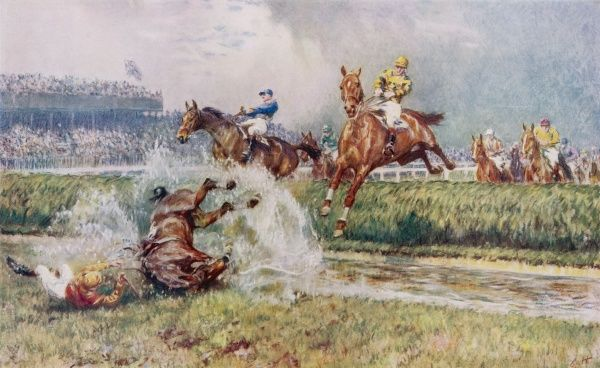 A horse and jockey take a tumble at the water jump on the Grand National course at Aintree in Liverpool, showing that it's any horse's race