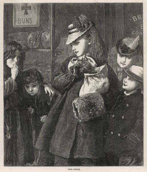 Front cover engraving from The Illustrated London News showing a well-dressed young girl carrying a bag of Hot Cross buns gives one to two impoverished children