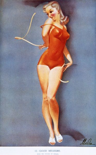 Blonde, voluptuous pin up girl by Merlin Enabnit (1903-1979) wearing a red swimming costume and holding a measuring tape