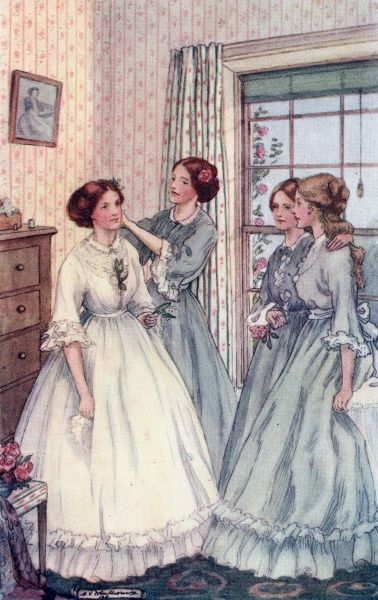 Meg prepares for her wedding to John Brooke, in the gown she has made herself. Date: first published 1869