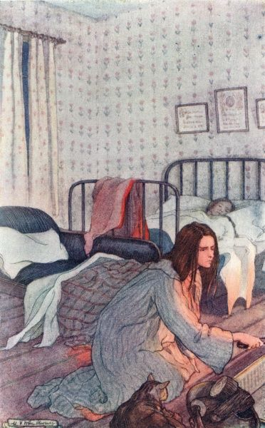 Jo in Beth's sick-room. (She gets better, you'll be glad to know.) Date: first published 1869