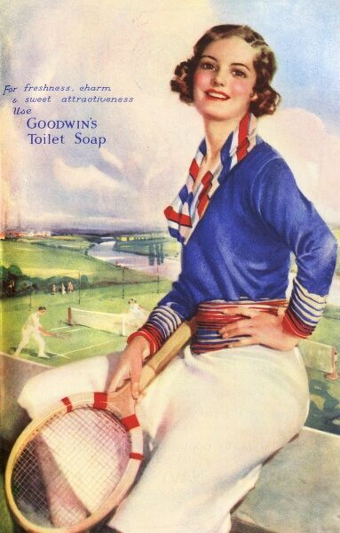 An advert for Goodwin's toilet soap, featuring a smiling young woman holding a tennis racket. 1937-1938