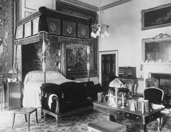 The bedroom in which Edward VII slept when he attended the races from Goodwood House, West Sussex