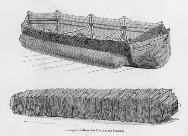 Charles Goodyear of New Haven, Connecticut, best known for his tyres, also displays an india-rubber lifeboat and pontoon at the Crystal Palace
