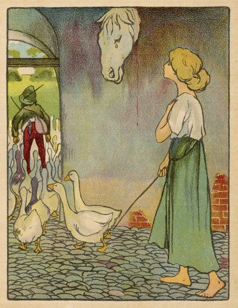 The Goose Girl looks up at a horse's head, hanging on the wall