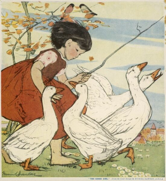 A tiny girl in a fetching red dress guides a gaggle of geese