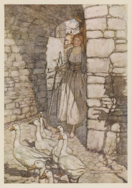 GOOSE GIRL/RACKHAM. The Goose Girl and the head of the Falada, the talking horse. (GRIMM)