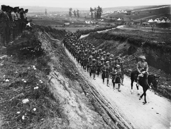 The 2nd Battalion Gordon Highlanders march to the trenches along the Becordel-Fricourt Road