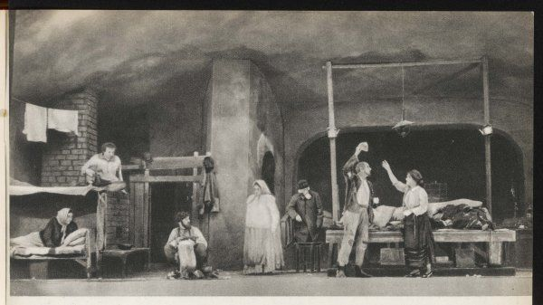 A scene from the 1902 production of Maxim Gorky's classic play of working class life, 'THE LOWER DEPTHS', performed by the Moscow Arts Theatre