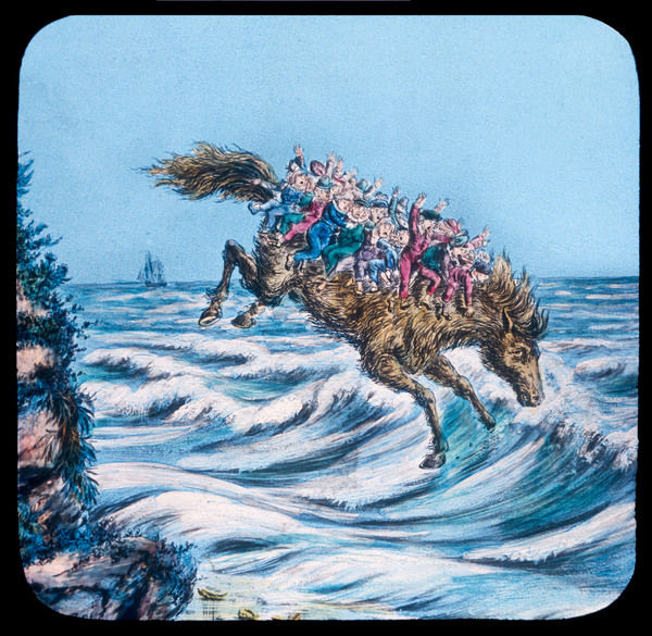 Children should be warned not to accept rides from strange magic horses - these unhappy kids are riding, alas, to a home 'neath the waves whence they are unlikely to return