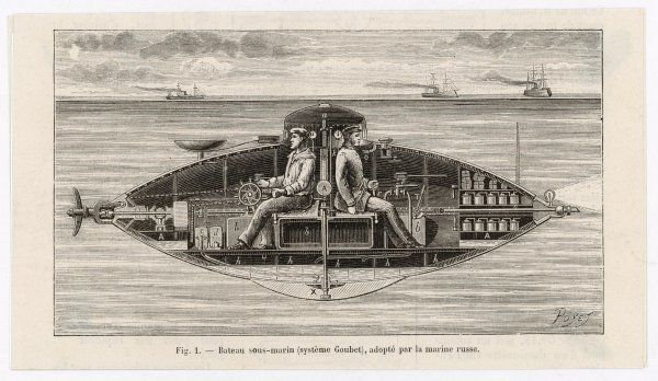 Designed by Claude Goubet in 1885: the first electrically powered submarine. Seen here being used by the Russian Navy