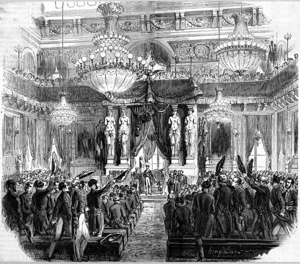 Napoleon, noe Prince- President, opens the new legislative session of the Assemblee Nationale at the Tuileries Palace